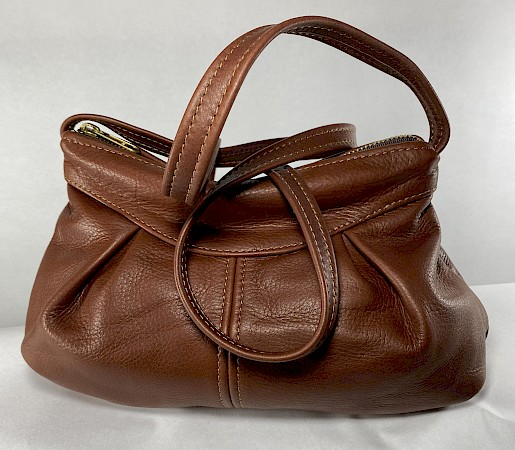 Small Leather Gathered Bag