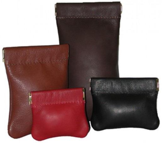 Small Leather Squeeze Pouch