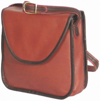 French Bound Leather Shoulder Bag