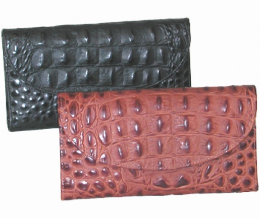Ladies Crocodile Leather Checkbook Wallet