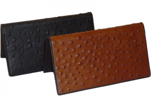 Ostrich Leather Checkbook
