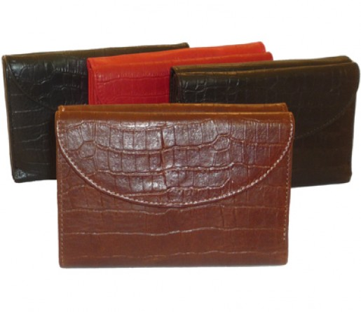 Double Flap Ladies Alligator Leather Wallet